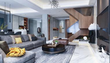 中海别墅420平现代轻奢装修效果图