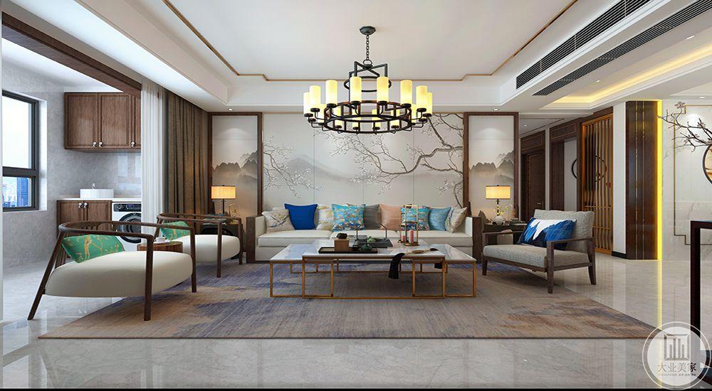 客厅1客厅沙发墙对称式木制线条+刺绣墙布,点缀中式元素