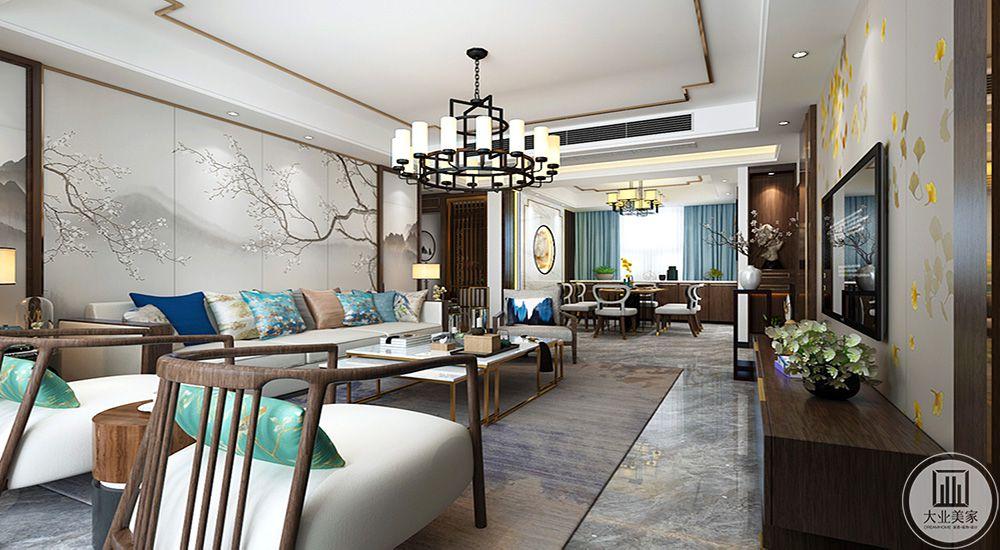 客厅3南北通透,空间色调柔和匹配