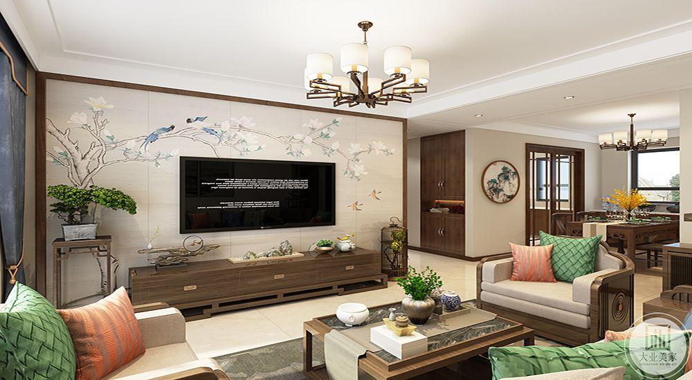 电视墙刺绣墙布,突出中式元素