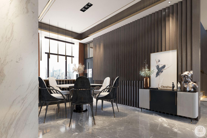 餐厅空间较小,只有2.7米的开间,在满足厨房功能以及不占用餐厅尺寸的前提下,挪用了厨房部分尺寸,设计了一个嵌入式的冰箱组合柜。餐厅在视觉上显得更加宽敞、围合,同时额外增加了储物功能能
