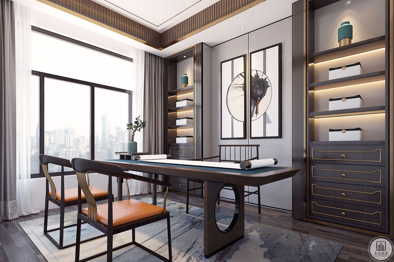 开放式的连通,空间宽敞通透2.6m的实木大茶台,兼顾了办公与品茶的需求。书柜的设计美观与功能相结合,满足了屋主收藏品展示与书籍收纳的双向要求