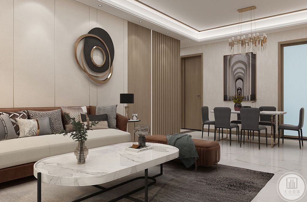 沙发背景墙以木饰面的墙面基础和木制格栅加上线性灯,整个空间看上去就很有设计感。