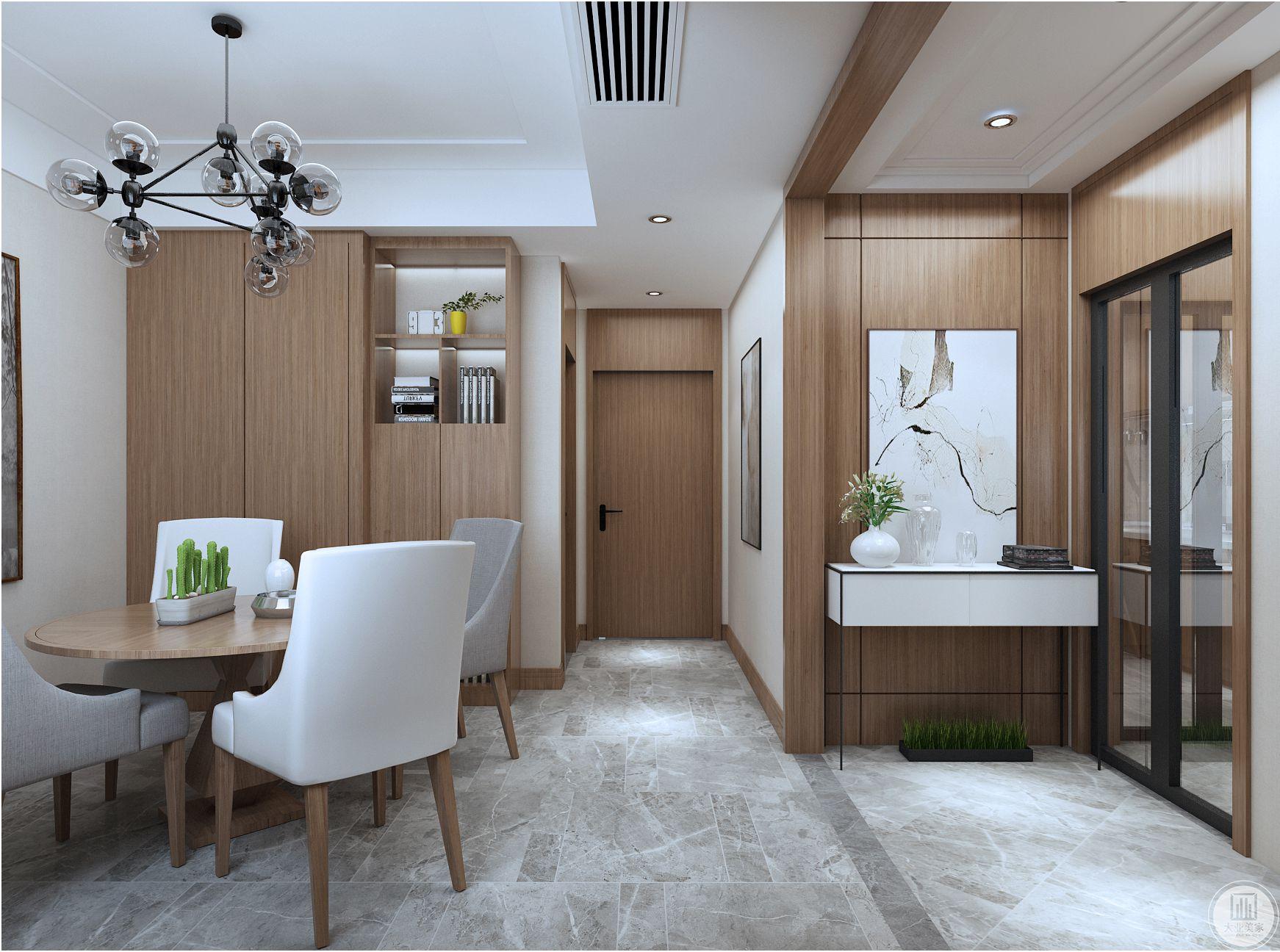 门厅储物柜的设计,既满足储物功能又增加了整个门厅的干净整洁度。