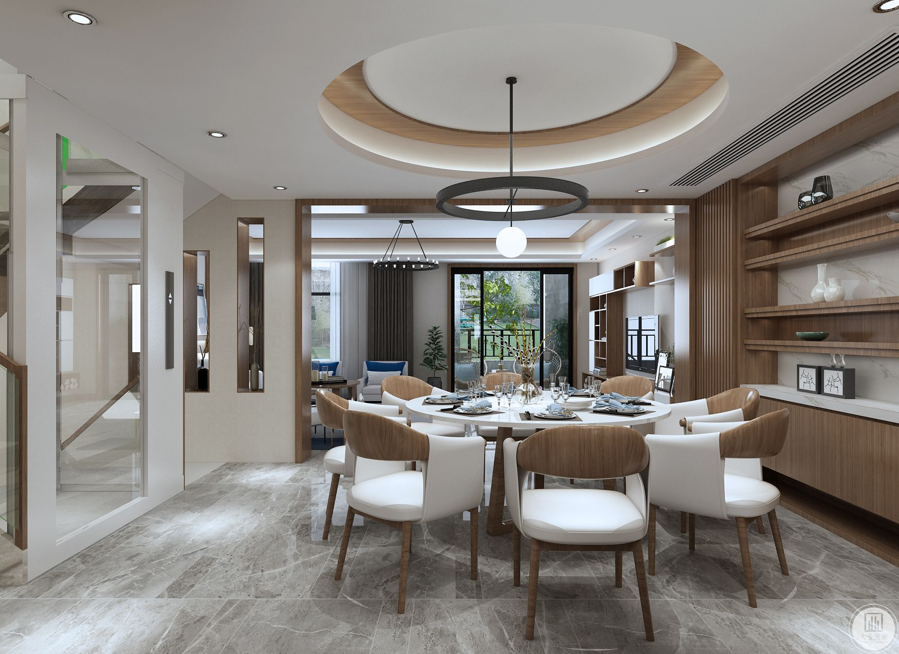 餐厅在追求自然与人文的融合方面非常简约优雅,圆形吊顶与圆形餐桌呼应,没有太多复杂的色彩和装饰。