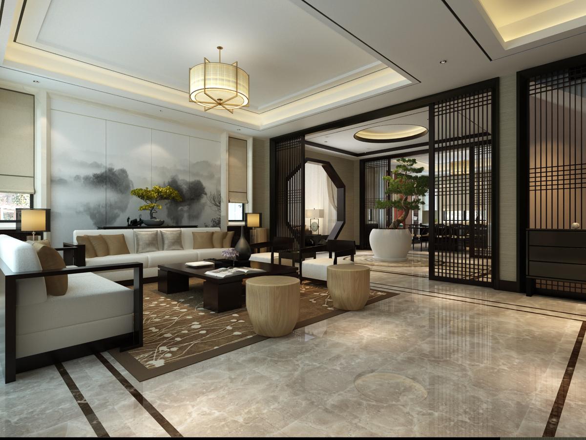 中海铂宫480平新中式装修效果图