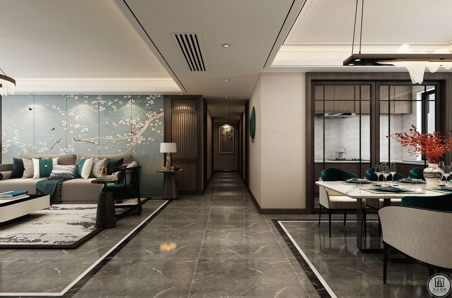 地面铺瓷砖,客厅餐厅加串边,划分区域