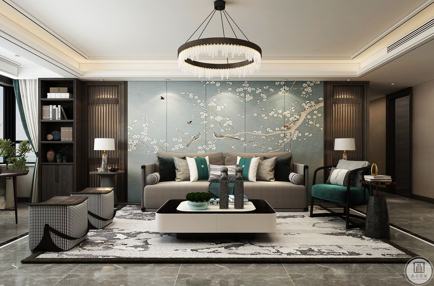 沙发背景考虑用壁画硬包做主要造型,两边有木制栅格做对称
