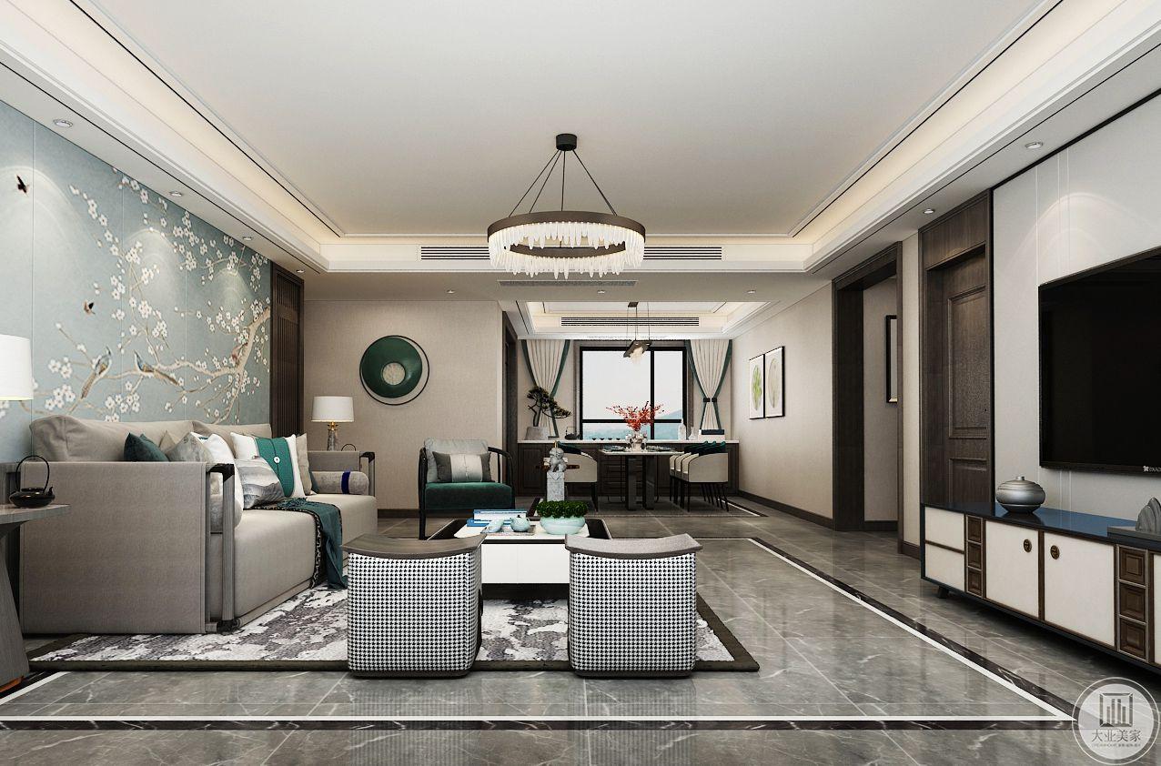 沙发用 布艺和木制结合中式与现代结合,既稳重又时尚