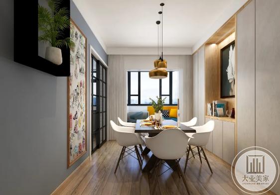 灰色橱柜厨房餐桌设计效果图