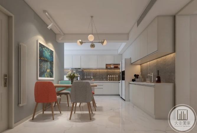 经典白色橱柜厨房餐桌设计效果图