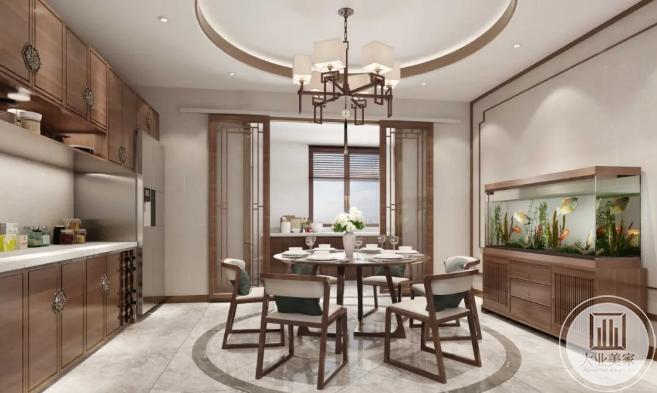 原木色橱柜厨房餐桌设计效果图