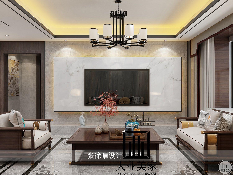 山水尚城155平新中式装修效果图