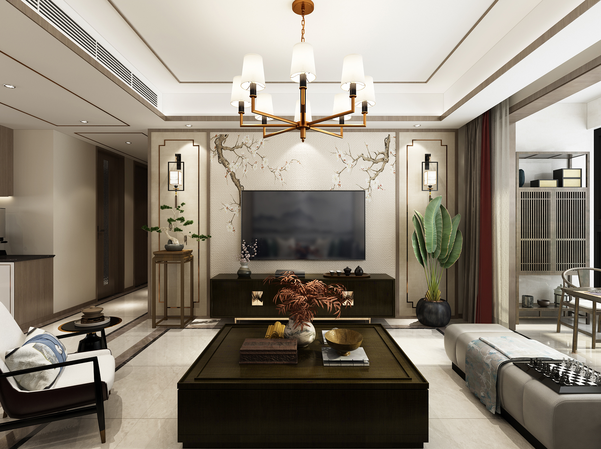 瀚玉城167平新中式装修设计案例