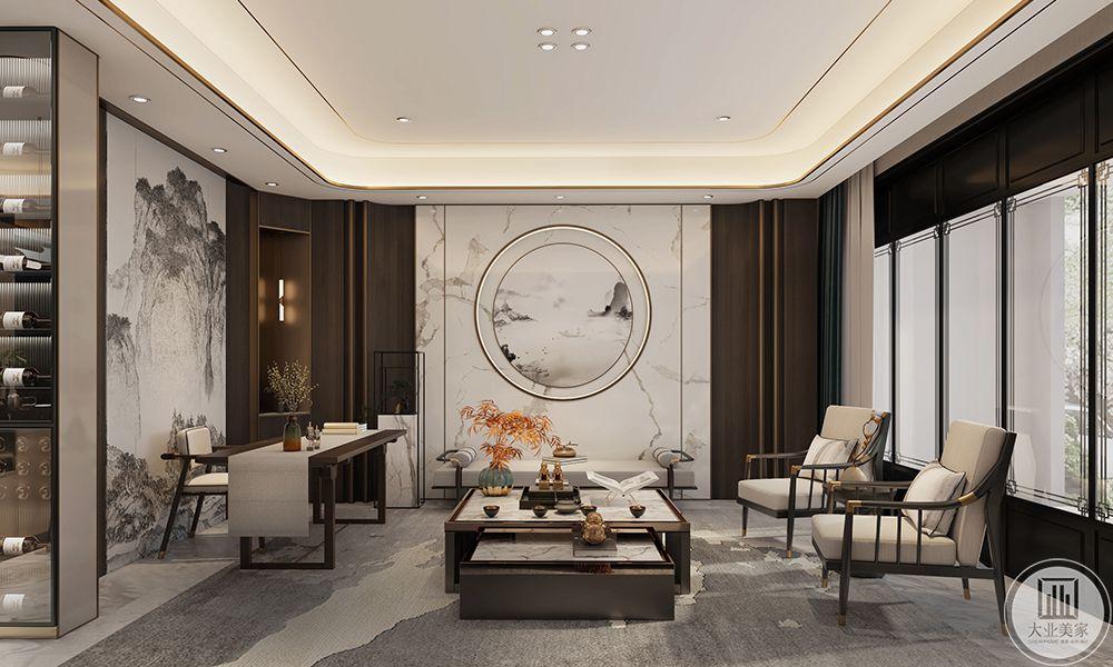 杨柳春风350平轻奢中式装修设计案例