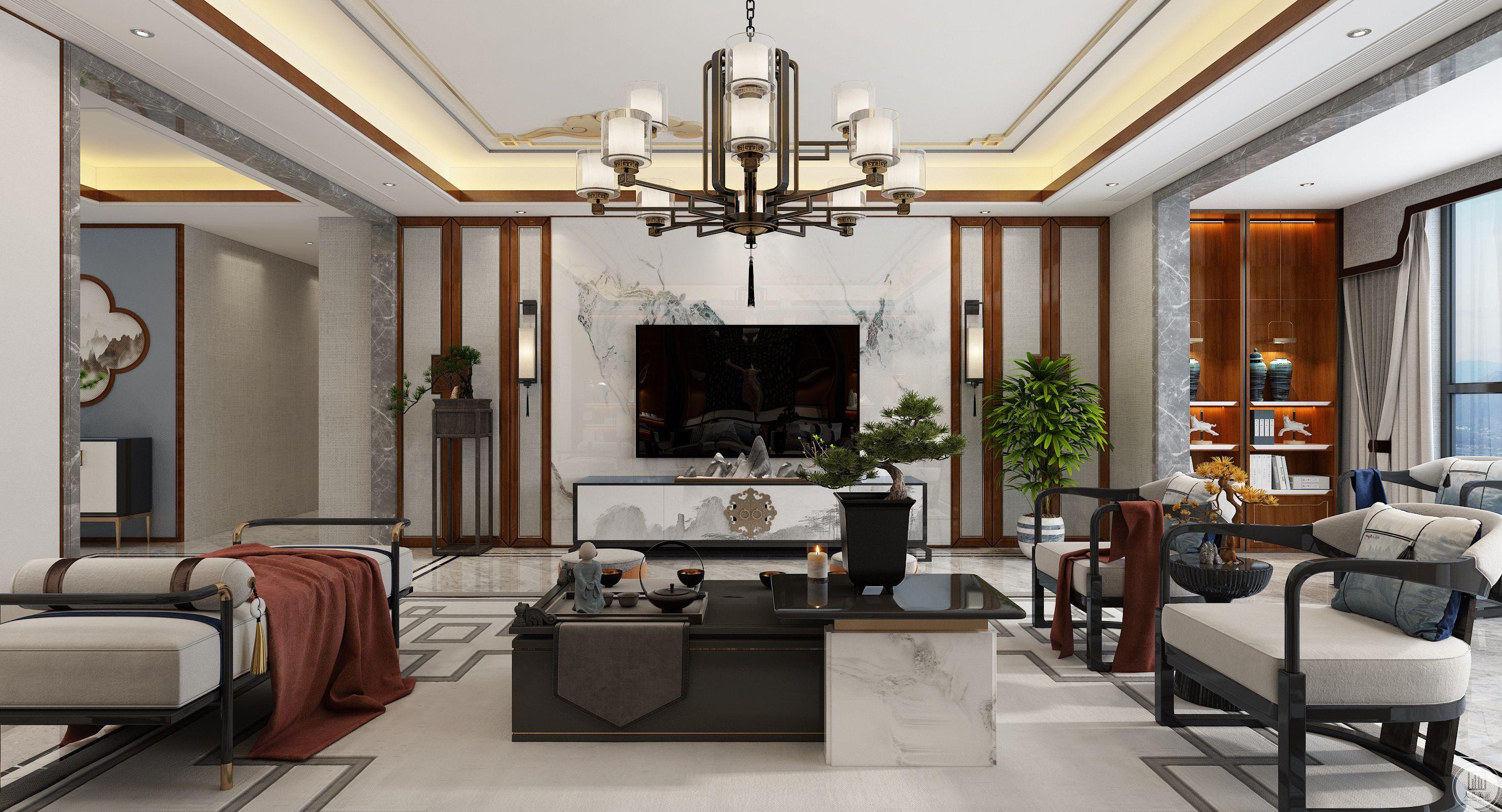 济南院子230平新中式装修设计案例
